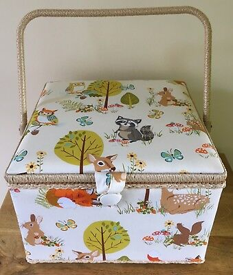 QUALITY SEWING BOX BASKET Extra Large  Square 'FOREST FRIENDS' DESIGN