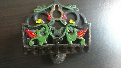 Antique/Vintage Matchstick Holder Cast Iron Wall Hanging Decoration USA Metal