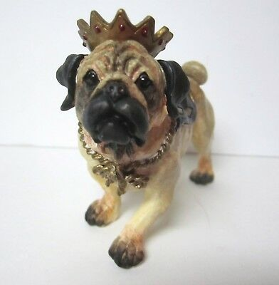Big Sky Pug wearing a Gold Crown Figurine