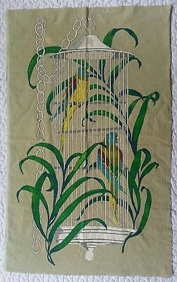 """Vintage Hand Painted Tapestry Velvety Parrots Birds Birdcage Tropical 21"""" × 34"""""""