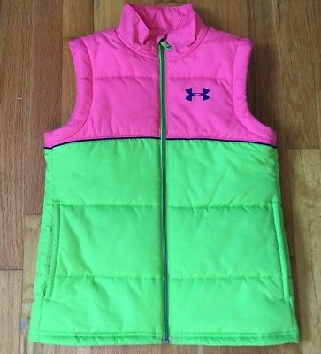Under Armour Girl's Kid's Vest Size Youth Small Pink Green Cold Gear Sleeveless
