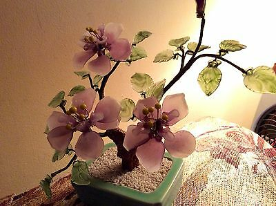 Vintage Oriental Bonsai Glass Jade Tree With Pale Lilac & Green