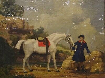 Fine 19th Century English School White Horse & Gentleman Antique Oil Painting