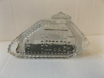 Vintage Early 1900's Glass WWI Tank Candy Container w/  Metal bottom
