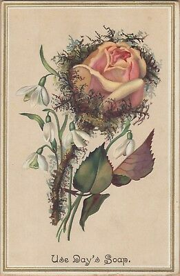 Embossed Victorian Trade Card-Day's Soap-Day & Frick-Philadelphia, PA-Flowers