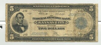 Fr. 804 Kansas City, MO issued $5 Series 1918 Federal Reserve Bank Note Rare!