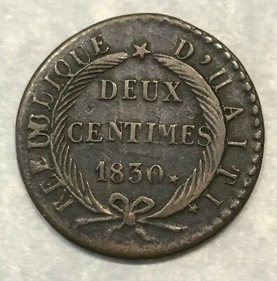 Haiti 2 Centimes 1830 Year-27 Nice Early Copper Km-A22 High Grade Problem Free