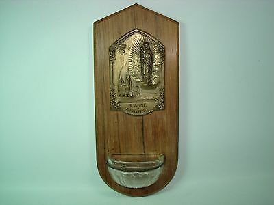 Vintage French St Anne De Beaupre Holy Water Font & Gilded Bronze Plaque