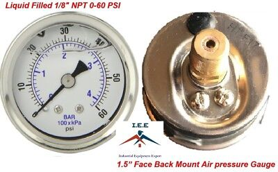 "Liquid Filled 1.5"" Face 0-60 PSI Air Pressure Gauge Back Mount 1/8"" NPT"