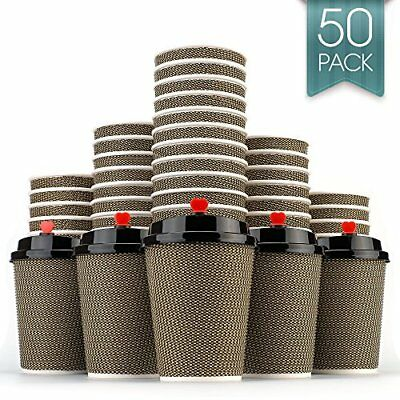 Disposable Coffee Cups to Go Premium Hot Paper Cup Lids and Straw 12 Oz 50 Count