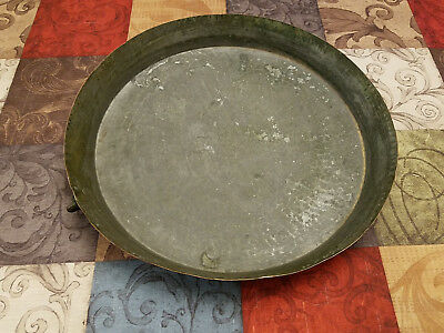 "vintage antique hand hammered 15"" copper pan tin lined hanging ring 2.25lb"