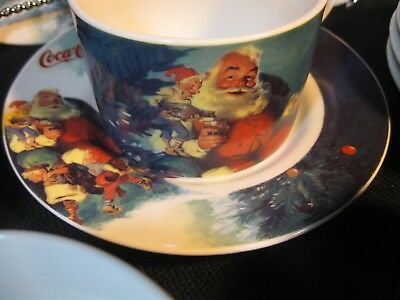 7 sets of Coca Cola Gibson Santa Elves Cups/Mugs _& _Plates