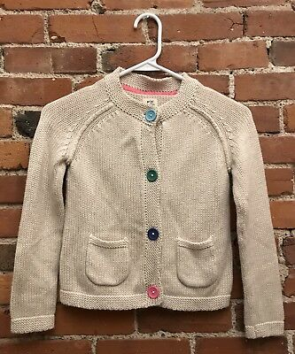 Mini Boden Girls Soft Angora Blend Knit Cardigan Oatmeal Buttons Size 7-8 Y