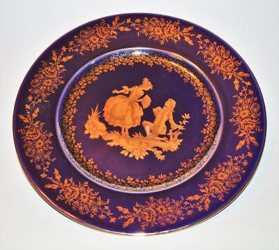 "Vntg CASTLE LIMOGES France Cobalt Blue 22K Gold VICTORIAN PROPOSAL 9 3/4""d Plate"