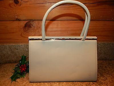 Vintage Off-White Leather Frame Bag Antique Brass Lock Clasp 1960's
