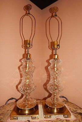 "Vintage Pair Waterford Cut Crystal Lamps Large 32"" Table Light~Beautiful!~"
