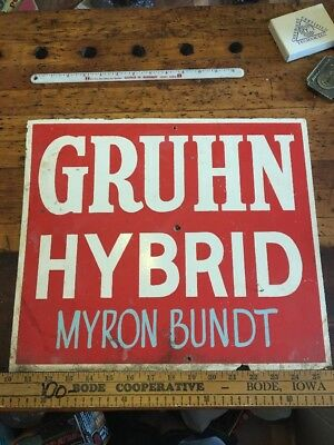 Gruhn Hybrid Seed Corn Masonite Sign Iowa Feed Not Tin