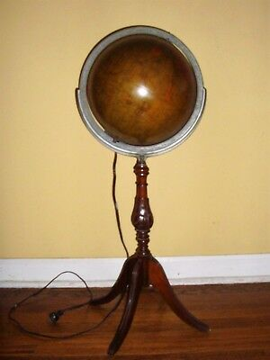 "Antique 1930's REPLOGLE ILLUMINATED 12"" WORLD GLOBE on Duncan Phyfe Wooden Stand"