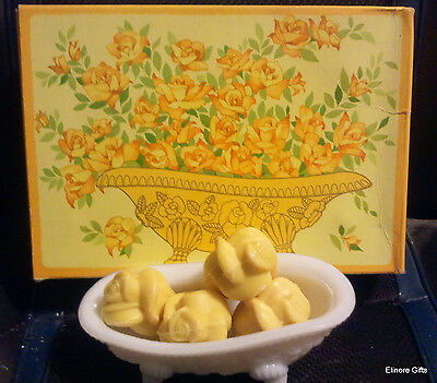 Vintage 1972 Avon Beauty Buds Yellow Rose Soaps W Milk  Glass Dish New Old Stock
