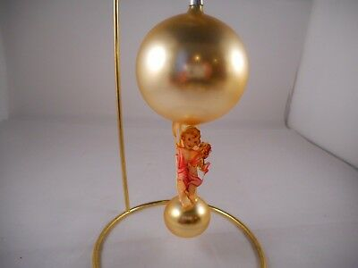 Vintage Mercury Glass Christmas Ornament Satin Finial Paper Angel Decal