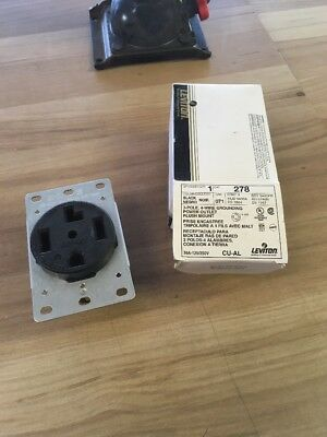 1 Nib Leviton 278 Receptacle Black Flush 30 Amp 3 P 4 Wire 125-250V
