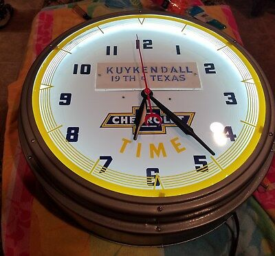 VINTAGE 1940's 1950's Chevrolet Neon Dealership Advertising Clock Restored