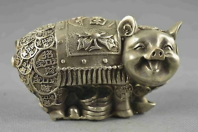 China Collectable Handwork Old Miao Silver Carve Smile Pig Wealthy Lucky Statue
