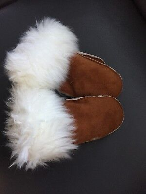 TWO PAIRS Brand New Tan Shearling Mitts Sheepskin Mittens Wool Lined Suede Brown