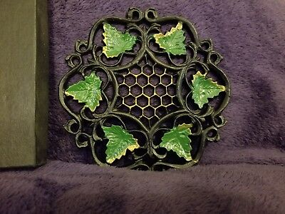 "Vintage Cast Iron Wilton Ivy Trivet 6"" in The original box"