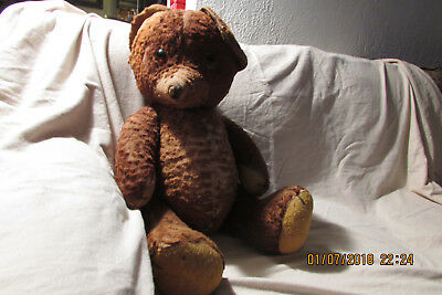 Vintage Stuffed Plush Jointed Jointed Teddy Bear  Brown Pointed Nose 23''