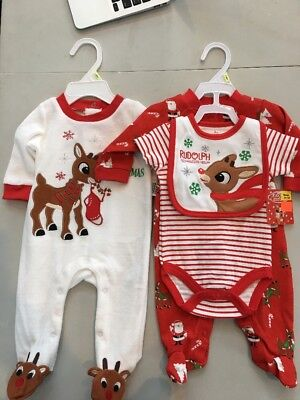 Lot of 2 NWT Child's Rudolph the Red-Nosed Reindeer Clothing Sets- Size 3 Months