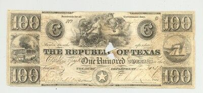 rare Red Star $100 bill issued by Republic of Texas dated 1839 by Mirabeau Lamar