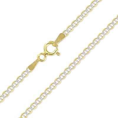 """14K Solid Yellow Gold White Pave Mariner Necklace Chain 2mm 16-24"""" - Diamond Cut"""
