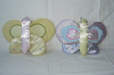 Butterfly Wall Hangs Plush Decor Baby Girl Nursery Bedroom Purple Yellow 10""