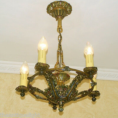 684 Vintage 20s 30s Ceiling Light Lamp Fixture Re-Wired  ART NOUVEAU POLYCHROME