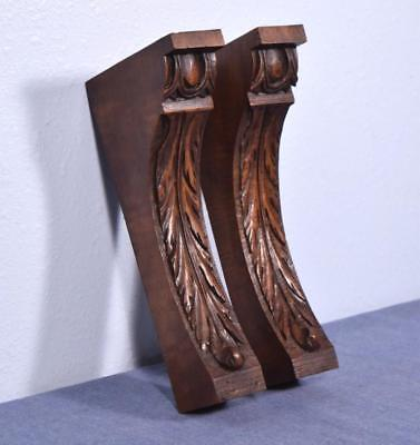 "*Pair of 10"" French Antique Corbels/Pillars/Brackets in Walnut Wood"