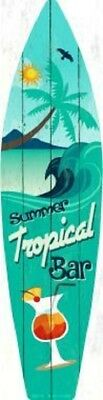 Summer Tropical Bar Metal Novelty Surfboard Sign
