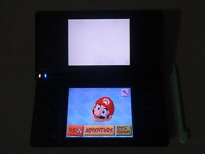 Original Nintendo DSi Black Handheld System Slot Works Upper Screen Damaged