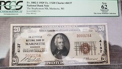 1929 $20 NB Note Marinette Wi