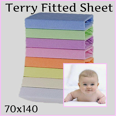 Terry Towelling Fitted Sheet 140x70(27x55in) Baby Cot Toddler Bed Mattress Cover