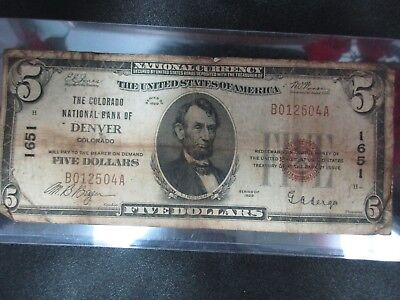 1929 US $5 National Currency Note National Bank of DENVER, Colorado