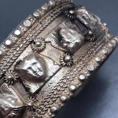 Antique Egyptian Revival Silver Pharaoh head Cuff Bracelet Bangle