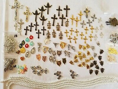 huge lot rosary making supplies beads crucifix centers medals crosses pkg. #1