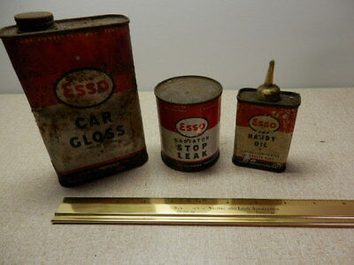 Vintage Esso Tin Can Lot Of 3 Car Gloss Radiator Stop Leak Handy Oil