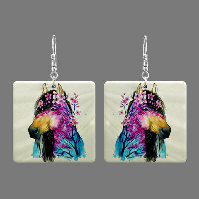 Natural Mother of Pearl Shell Horse Earrings Square Drop Jewelry S1707 0201