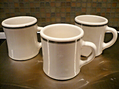 3 Vintage VICTOR GREEN STRIPED Restaurant Ware HEAVY Diner China Coffee MUGS