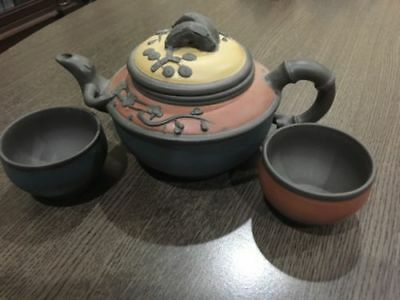 Teavana Tricolor Yixing Teapot Set with two cups - Never Used