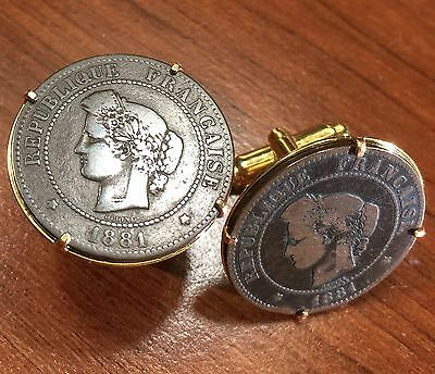 Antique French 1881 Liberty Large Bronze France Coin Cufflinks + Gift Box!
