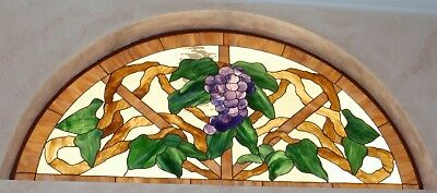 Stained glass window,half round sunburst window for over double entry doors