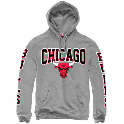 Chicago Bulls Mitchell & Ness NBA Visiting Team Hoodie Jumper - Grey